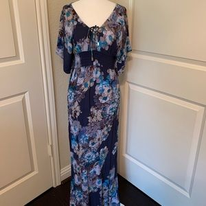 Lovestitch Floral Batwing Sleeve Maxi